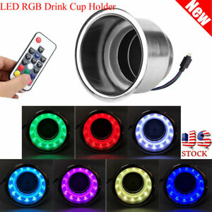 Stainless Steel Led Rgb Drink Cup Holder With Remote Control For Marine Rv Truck