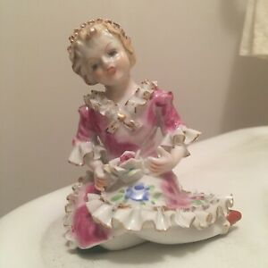 Vtg Antique Beautiful Porcelain Piano Baby Figure Girl Lady Ruffled Dress