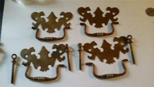 4 Antique Brass Chippendale Drawer Pulls