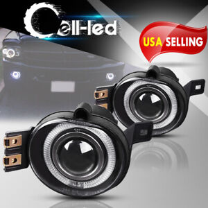 For 02 08 Dodge Ram 1500 Led Halo Projector Front Bumper Fog Lights Lamps Pair