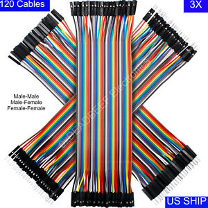 3x 40 Pcs Dupont Wire Jumper Cable 20cm Male To Male Female Arduino Breadboard
