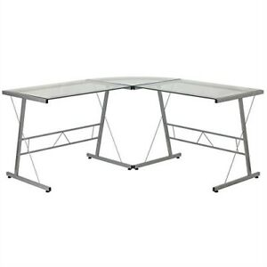 Modern Silver Metal L shaped Desk With Glass Top And Floor Glides