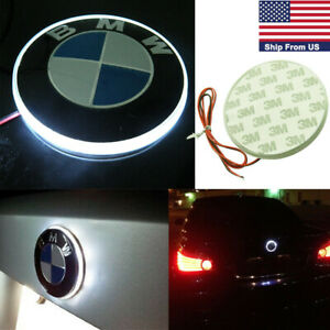 82mm Logo Emblem Rear Badge Led White Background Light For Bmw 3 4 5 6 7 Series