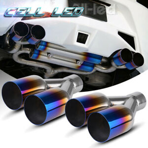Left Right 2 5 in 3 5 out Exhaust Dual Slant Polished Staggered Tip Blue Burnt