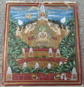 Antique 19thc Indian Miniature Painting Jain Tirthankara Jodhpur School Rare
