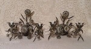 Pair Of Vintage Metal Italian Tole Floral Wall Mount Electric 2 Candle Sconces