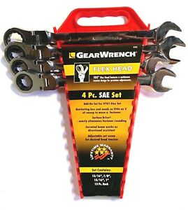 Gearwrench 4 Pc Sae Flex Head Combination Ratcheting Wrench Set Large 9703