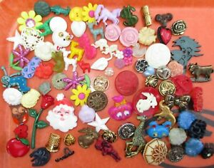 Lot 80 Antique Vintage Celluloid Plastic Realistic Goofy Buttons All Kinds