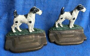 Pair Of Antique Terrier Dog Cast Iron Bookends By Bradley Hubbard