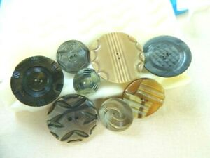 8 Vintage Antique Pressed Colored Celluloid Buttons Circa 1920 S