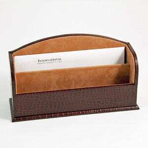 Desk Accessories greenwich Brown croco Leather Letter Holder Letter Rack