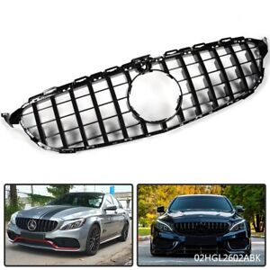 Black Gt R Grill Grille For Mercedes Benz W205 C Class 2015 2018 W Camera Hole