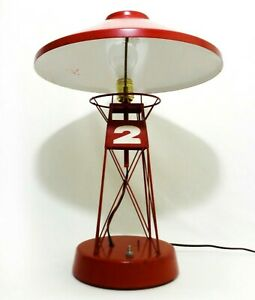 Rare Mid 20th C Vint Nautical Buoy Metal Table Lamp W Red Enamel Paint