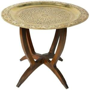 Polished Moroccan Brass Tray Side Table On Spider Leg