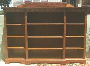 Antique Large Oak Antique Arts Crafts Open Bookcase Adjustable Shelves Unusual