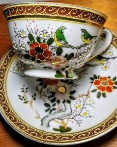 Dragon Ware Japanese Vtg Collectible Cup Saucer Hand Painted Holographic Image
