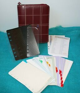 Franklin Covey Compact Dark Red Stitched Leather Zip Planner Binder Inserts Tabs