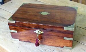 Antique Regency Style Writing Slope Rosewood Exterior On Mahogany Brass Corners