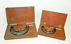 2 Vintage Jt Slocomb Micrometers 2 3 3 4 Adjustable In Wooden Storage Boxes