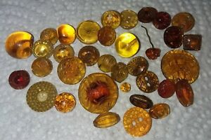 Lot Antique Vintage Diminutive Small Yellow Amber Depression Glass Buttons