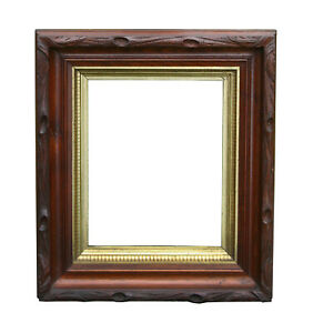 Antique Victorian Tree Bark Carved Walnut Shadow Box Picture Frame