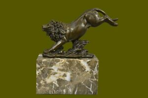 Vintage Cast Metal 100 Real Bronze Statue African Lion After Barye Decor
