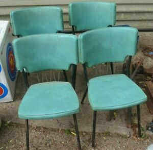 Howell 4 Vtg Vinyl Turquoise Blue Kitchen Chairs Mid Century Modern Atomic Iowa