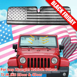 Fit Jeep Wrangler Jk Jku Front Windshield Sunshade Protector Sun Shade Visor 1pc