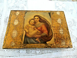 Vintage Italian Florentine Gold Gilt Wooden Trinket Rosary Box Madonna And Child