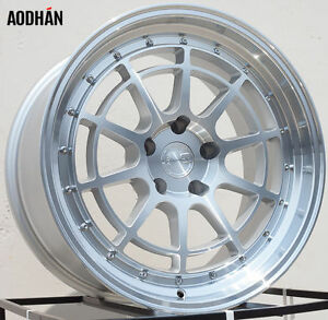 Aodhan Ah04 18x9 5 30 18x10 5 25 5x114 3 Silver Machined Staggered Set Of 4