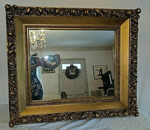 Gorgeous Antique Classic Gold Large Wood Plaster Mirror In Frame