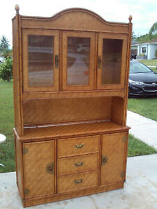 Vintage 2 Piece Faux Bamboo Dixie Herringbone Wicker China Cabinet Hutch Buffet