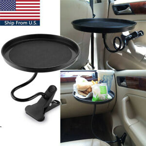 Car Mount Holder Travel Drink Cup Coffee Table Stand Food Tray Black Universal