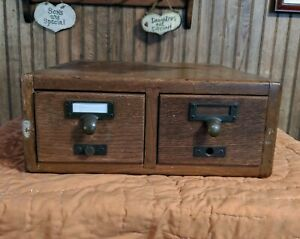 Antique Oak 2 Drawer Index Card File Cabinet Catalog Box Dovetailed Quality