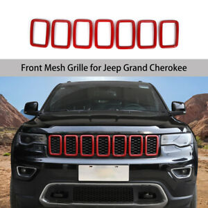 Front Grill Grille Inserts Trim Rings Decor Fit Jeep Grand Cherokee 2017 19 Red