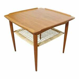 Mid Century Danish Modern Poul Jensen Selig Teak Caned Square Coffee Side Table