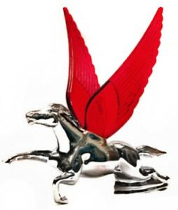 Flying Horse Hood Ornament Chrome With Red Illuminated Wings