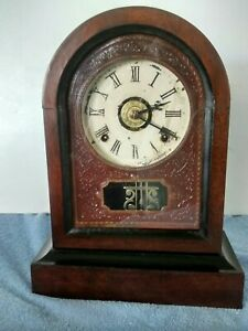 Antique 1870 Early Rare Jerome And Co Post Civil War Era Eight Day Shelf Clock