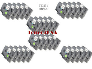 30 Pcs Great Quality Black On White Tape Compatible For Brother Tz 231 Tze 231