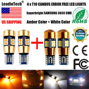 4x T10 Led Bulbs Canbus Error Free Yellow White 3030 19 Smd W5w T15 194 Lights