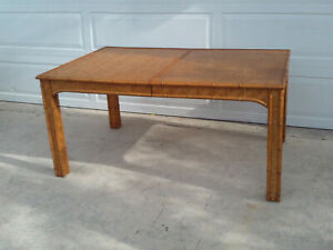 Vintage Faux Bamboo Dixie Harringbone Wicker Dinning Table With Single Leaf