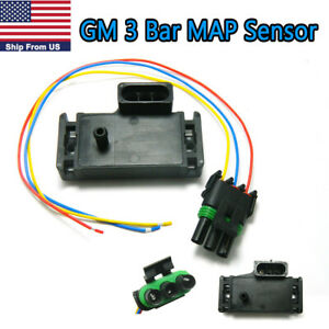 1x Gm 3 Bar Map Manifold Pressure Sensor With Connector Pigtail For Gm Models
