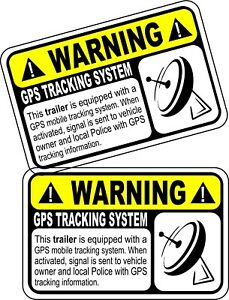 Gps Anti Theft Trailer Security System Warning Alarm Sticker Track Decal X 2