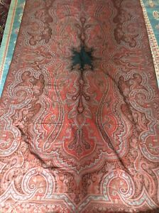 Antique Victorian Paisley Shawl Spread Throw Large 60 X 120