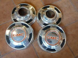 Vintage 1970s 80s Gmc 4x4 Four Wheel Drive Dog Dish Hubcaps Set Of 4 Oem