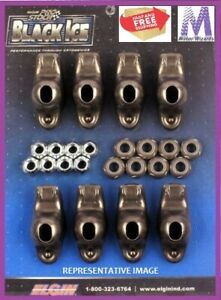 Elgin Black Ice Rocker Arms Fit Sbc Gm Chevy 350 1 5 Ratio 3 8 Stud Stk Slot