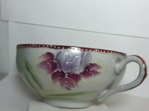 Nippon Japan Hand Painted Tea Cup Purple Rose
