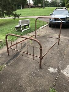 Vintage Iron Full Bed Frame With Rails
