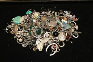 1 Lb Scrap Sterling Silver Jewelry Some With Stones Lot 925 Marked And Unmarked