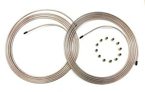 30 Ft Of 3 16 Copper Nickel Brake Line Tubing W 3 8 24 Fittings 2 15 Coils